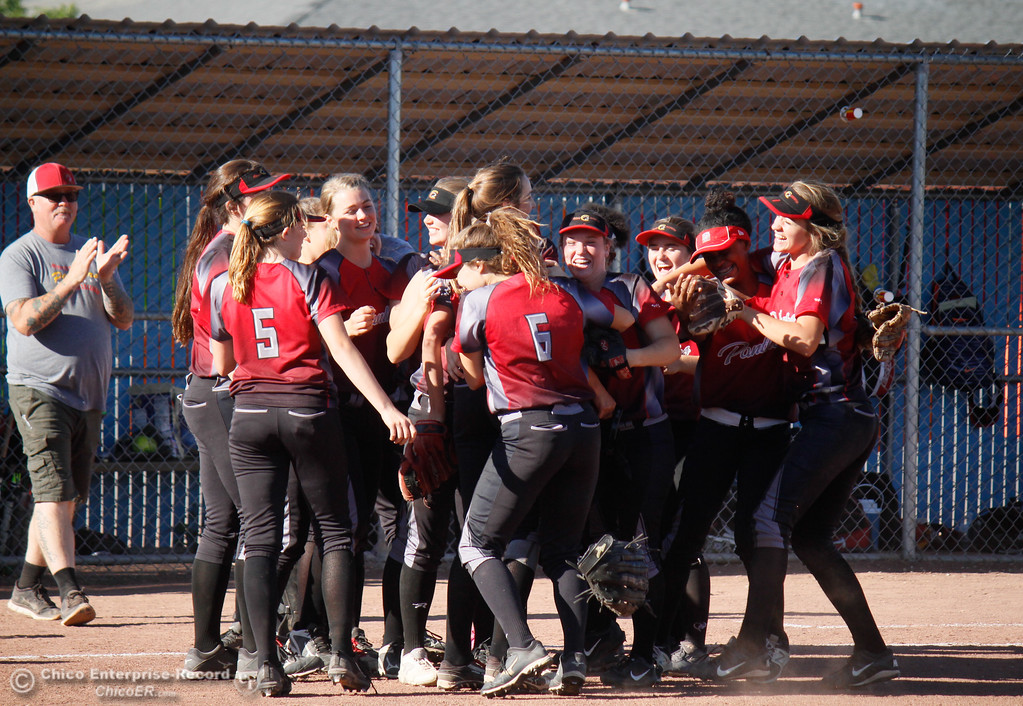 . Chico High celebrates an 11-6 win over Pleasant Valley in the  Northern Section Division II championship softball game Wednesday May 17, 2017 in Chico California, California. Chico High goes on to win the NSCIF title 11-6 over Pleasant Valley.  (Emily Bertolino -- Enterprise-Record)