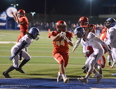 Chico High's Rafael Orozco steps into the end zone past Pleasant Valley's defense for a touchdown in the Northern Section Division II semifinal football game Friday November 17, 2017 at Asgard Yard in Chico, California. (Emily Bertolino -- Enterprise-Record)