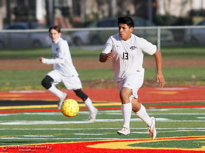 Chico High's Junior Montes races down the field as the Panthers take on the Shasta Wolves in the Northern Section Division 1 semifinal game Wednesday February 21, 2017 at Chico High School in Chico, California. (Emily Bertolino -- Enterprise-Record)