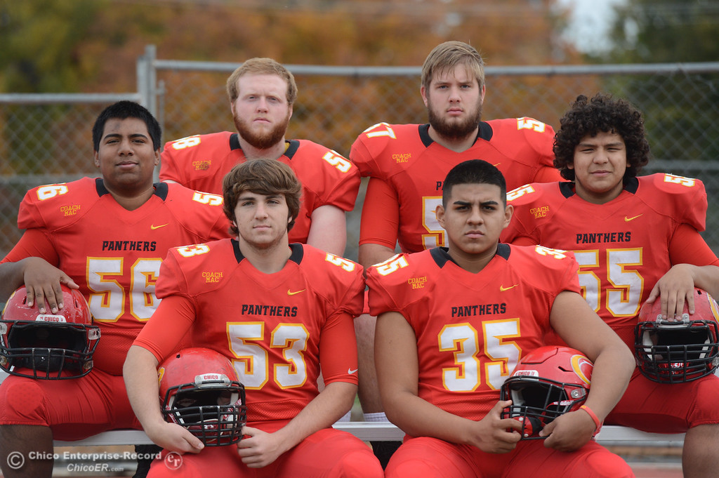 . Chico High\'s offensive line Sutter Sullwold (53),  Jeovany O\'hran (56), Owen Hill (58), Aiden Schatz (57), Cisco Silva (55) and Jose Martinez (35) are ready for the section championship game against Shasta High Friday November 24, 2017 in Chico, California. (Emily Bertolino -- Enterprise-Record)