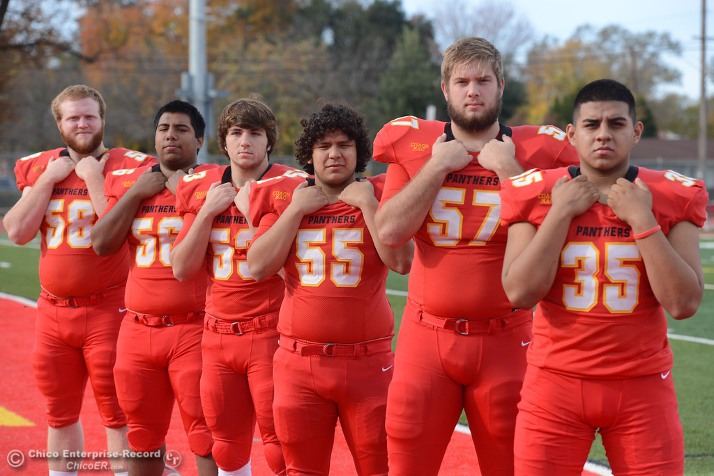 . Chico High\'s offensive line Owen Hill, Jeovany O\'hran, Sutter Sullwold, Cisco Silva, Aiden Schatz and Jose Martinez. left to right, are ready for the section championship game against Shasta High Friday November 24, 2017 in Chico, California. (Emily Bertolino -- Enterprise-Record)