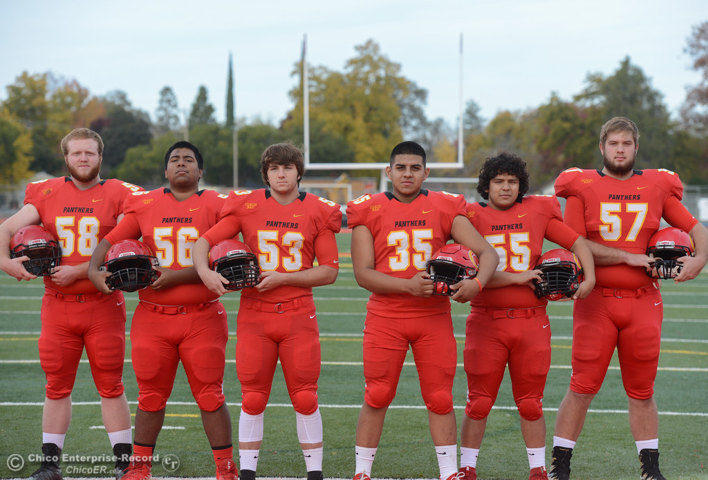 . Chico High\'s offensive line  Owen Hill, Jeovany O\'hran, Sutter Sullwold, Jose Martinez, Cisco Silva and Aiden Schatz, left to right, are ready for the section championship game against Shasta High Friday November 24, 2017 in Chico, California. (Emily Bertolino -- Enterprise-Record)