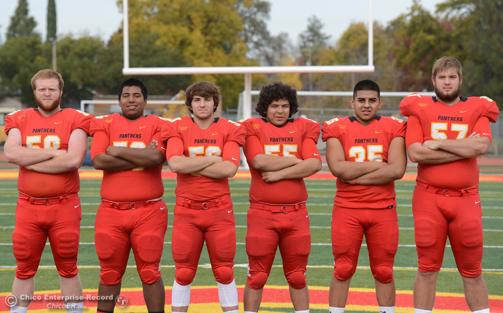 . Chico High\'s offensive line  Owen Hill, Jeovany O\'hran, Sutter Sullwold, Cisco Silva, Jose Martinez and Aiden Schatz, left to right, are ready for the section championship game against Shasta High Friday November 24, 2017 in Chico, California. (Emily Bertolino -- Enterprise-Record)