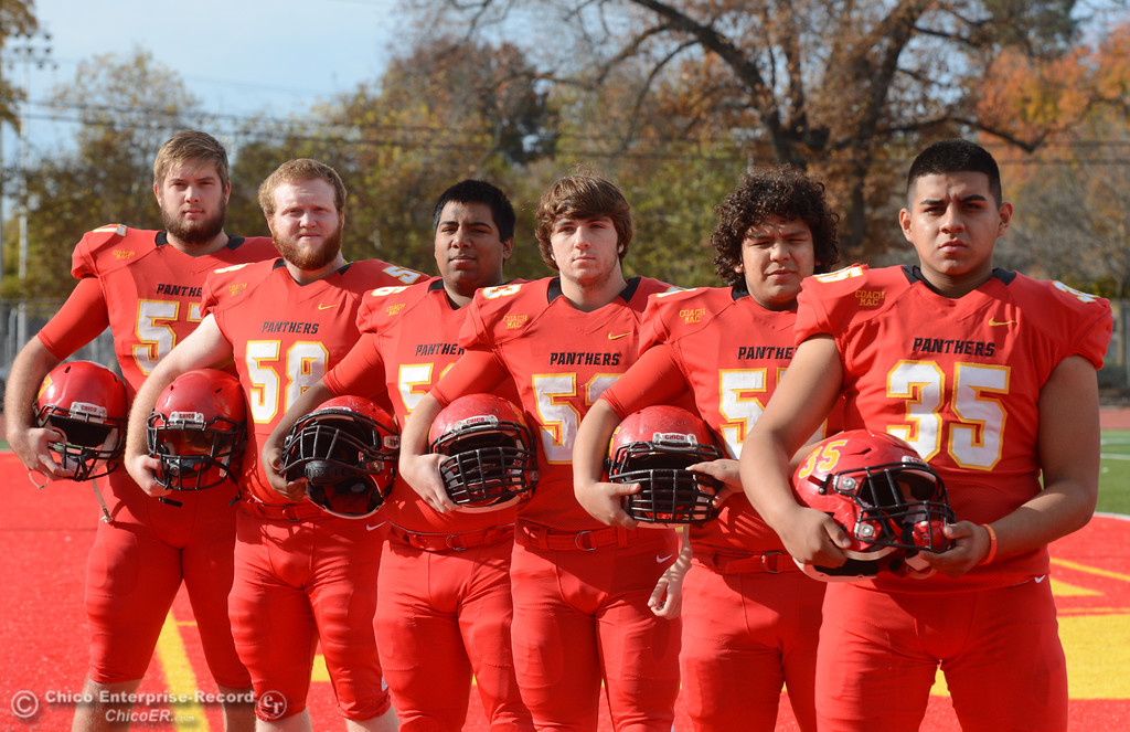 . Chico High\'s offensive line  Aiden Schatz, Owen Hill, Jeovany O\'hran, Sutter Sullwold, Cisco Silva and Jose Martinez. left to right, are ready for the section championship game against Shasta High Friday November 24, 2017 in Chico, California. (Emily Bertolino -- Enterprise-Record)