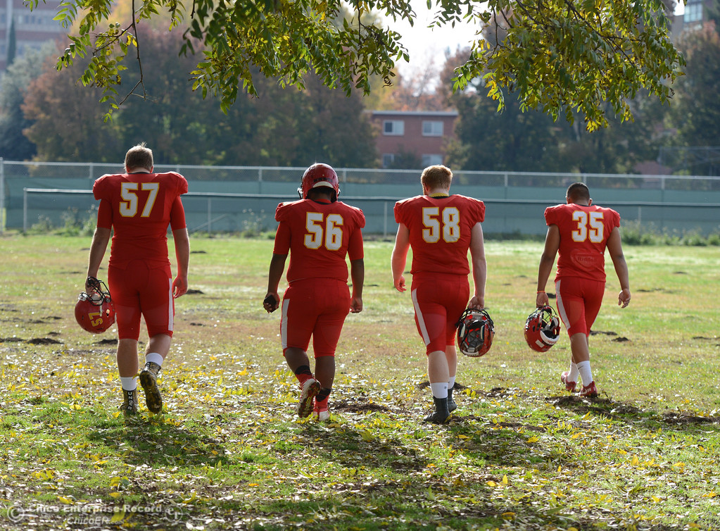 . Chico High\'s offensive linemen Aiden Schatz, Jeovany O\'horan, Owen Hill and Jose Martinez are ready for tomorrows section championship game against Shasta High Friday November 24, 2017 in Chico, California. (Emily Bertolino -- Enterprise-Record)