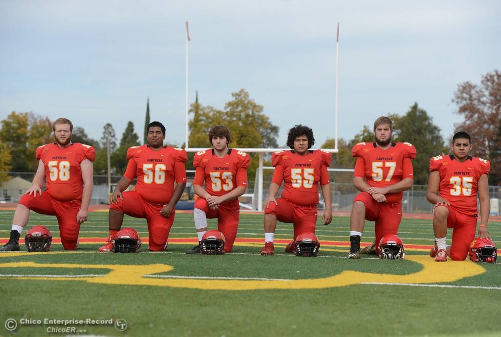 . Chico High\'s offensive line  Owen Hill, Jeovany O\'hran, Sutter Sullwold, Cisco Silva, Aiden Schatz and  Jose Martinez, left to right, are ready for the section championship game against Shasta High Friday November 24, 2017 in Chico, California. (Emily Bertolino -- Enterprise-Record)