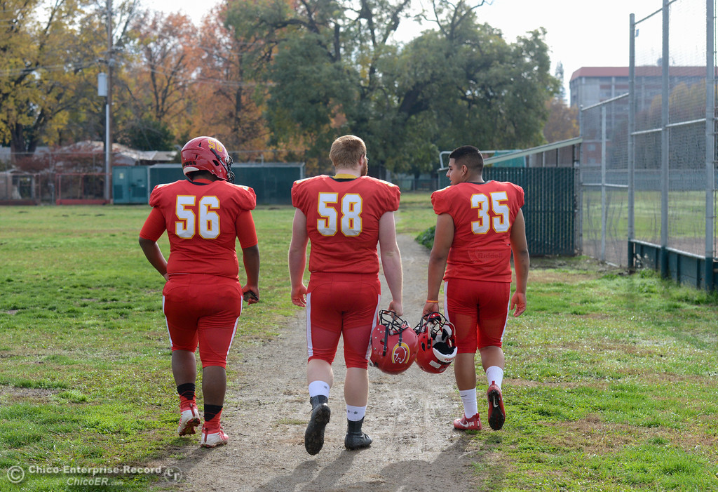 . Chico High\'s offensive linemen Jeovany O\'horan, Owen Hill and Jose Martinez are ready for tomorrows section championship game against Shasta High Friday November 24, 2017 in Chico, California. (Emily Bertolino -- Enterprise-Record)