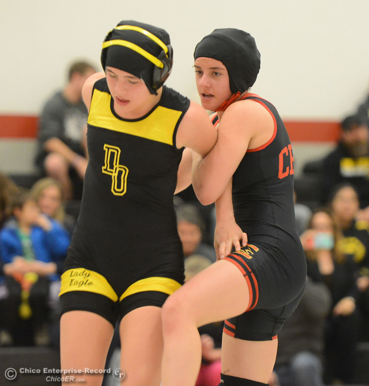 . Chico High\'s Kelsey Nedved  wrestles Del Oro\'s Mariah Cortez in the first ever all girls dual meet in the Northern Section Wednesday December 6, 2017 in Chico, California. (Emily Bertolino -- Enterprise-Record)