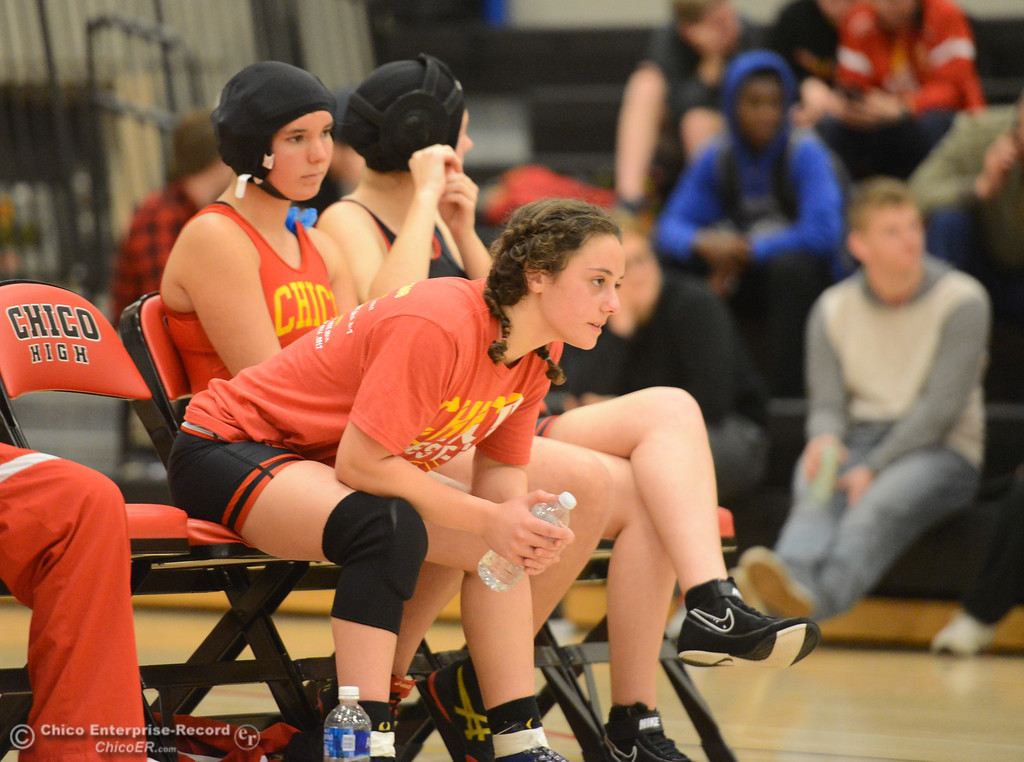 . Kelsey Nedved watches as Chico High\'s Konner Sims wrestles Del Oro\'s Layla Sidhu in the first ever all girls dual meet in the Northern Section Wednesday December 6, 2017 in Chico, California. (Emily Bertolino -- Enterprise-Record)
