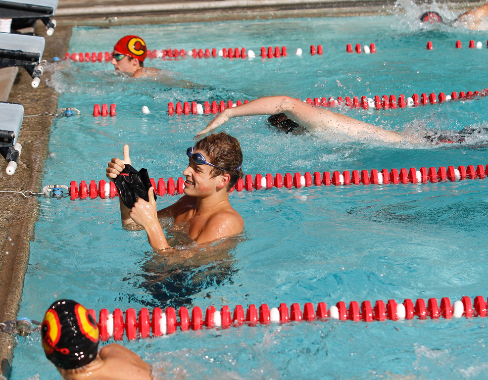 . Chico High\'s Aaron Hull gives a thumbs-up after coming in first for the boys 50 freestyle as the Panthers host Foothill in a dual swim meet Wednesday September 13, 2017 Bidwell Junior High in Chico, California. (Emily Bertolino -- Enterprise-Record)