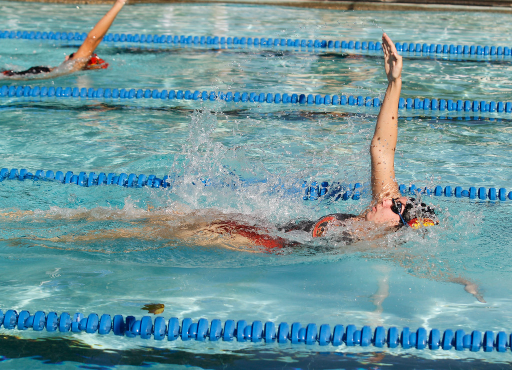 . Chico High\'s MacKenzie Hutler swims backstrock during the 200 I.M. which she too the gold in as the Panthers hosts Foothill in a dual swim meet Wednesday September 13, 2017 Bidwell Junior High in Chico, California. (Emily Bertolino -- Enterprise-Record)