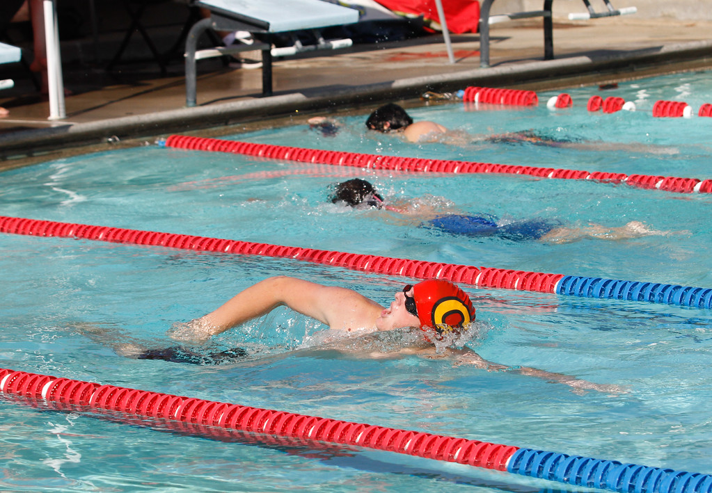 . Chico High\'s Jack Sheridan leads the boys 200 freestyle for a first place win as the Panthers hosts Foothill in a dual swim meet Wednesday September 13, 2017 Bidwell Junior High in Chico, California. (Emily Bertolino -- Enterprise-Record)