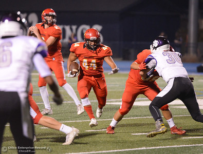 Chico High's Jalen Johnson finds the middle for a major gain over the Oroville Tigers Friday September 8, 2017 at Asgard Yard in Chico, California. (Emily Bertolino -- Enterprise-Record)