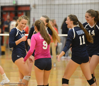Pleasant Valley's Hannah Pembroke celebrates with teammates after a strong point won against Chico High Thursday October 5, 2017 at Chico High School in Chico, California. (Emily Bertolino -- Enterprise-Record)