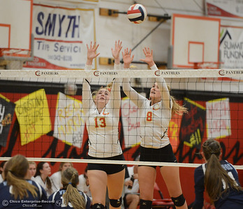 Chico High's Regan Murray (13) and Adair Hotmer (8) try to block Pleasant Valley's offense Thursday October 5, 2017 at Chico High School in Chico, California. (Emily Bertolino -- Enterprise-Record)