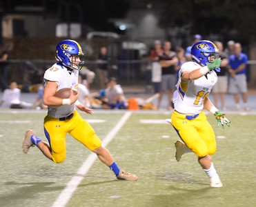 Sutter's Bryce Kunkle races downfield with teammate Trever Facey paving the way against Chico High Friday September 29, 2017 Asgard Yard in Chico, California. (Emily Bertolino -- Enterprise-Record)