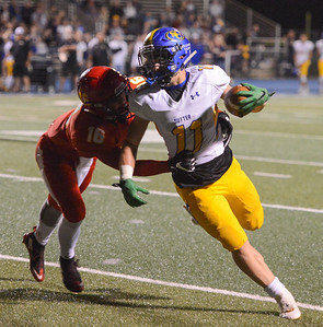 Chico High's Kobe Hood takes down Sutter's Trever Facey during a football game Friday September 29, 2017 Asgard Yard in Chico, California. (Emily Bertolino -- Enterprise-Record)