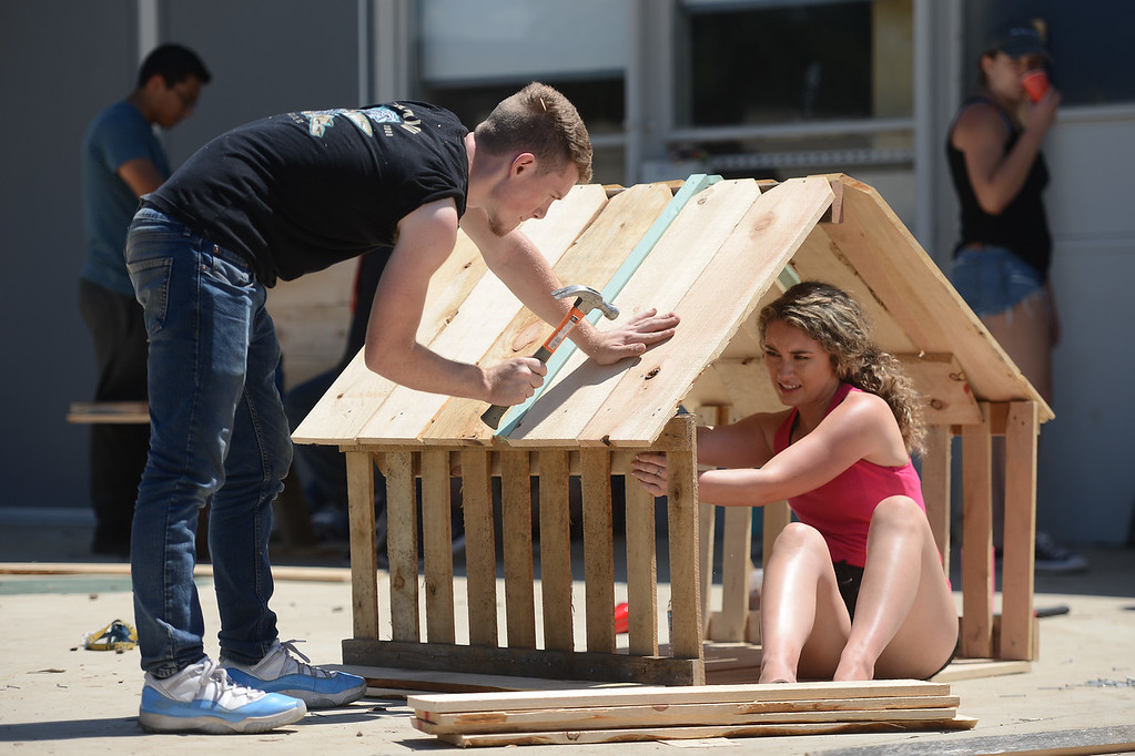 . Corvan Perkins and Kaylee Harral build a wooden structure, May 18, 2018,  in Chico, California. (Carin Dorghalli -- Enterprise-Record)