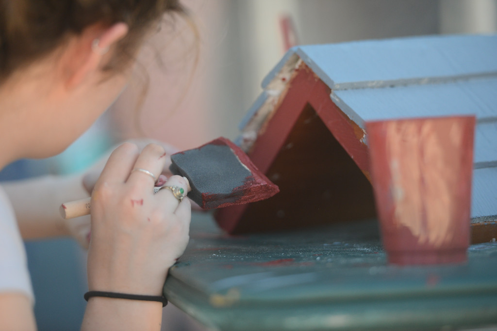 . Molly Lane paints the roof of a birdhouse, May 18, 2018,  in Chico, California. (Carin Dorghalli -- Enterprise-Record)