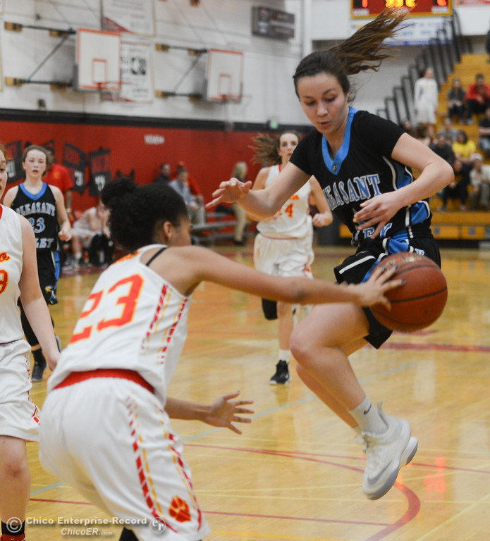 . Chico High\'s Adrianie Servin-Smith (23) swats the ball out of Pleasant Valley\'s Makenna Joyce\'s (14) hands, Thursday, February 8, 2018, in Chico, California. (Carin Dorghalli -- Enterprise-Record)