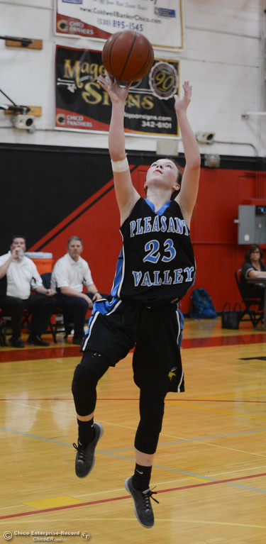 . Pleasant Valley\'s Shaley Vieg (23) goes up for a shot, Thursday, February 8, 2018, in Chico, California. (Carin Dorghalli -- Enterprise-Record)