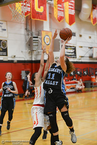 Pleasant Valley's Olivia Layne (11) goes up for a shot against Chico high's Adrianie Servin-Smith (23), Thursday, February 8, 2018, in Chico, California. (Carin Dorghalli -- Enterprise-Record)