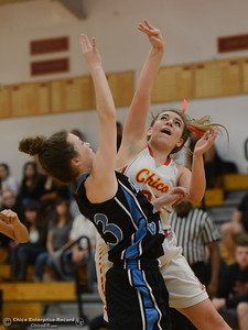 Pleasant Valley's Shaley Vieg (23) tries to block Chico High's Kensey Kinney (21), Thursday, February 8, 2018, in Chico, California. (Carin Dorghalli -- Enterprise-Record)
