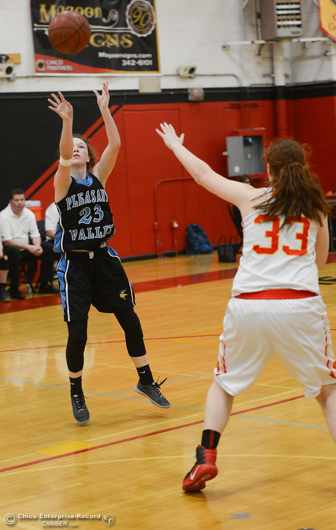 . Pleasant Valley\'s Shaley Vieg (23) goes up for a shot against Chico High\'s Rachel Digmon (33), Thursday, February 8, 2018, in Chico, California. (Carin Dorghalli -- Enterprise-Record)