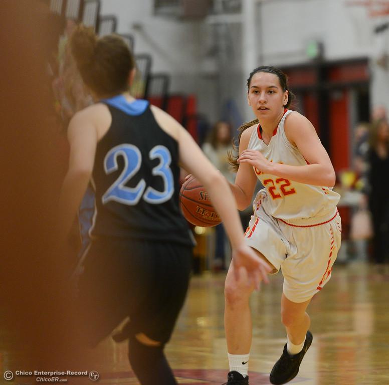 . Chico High\'s Elyana Croninger (22) guarded by Pleasant Valley\'s Jenessa Robinson (22), Thursday, February 8, 2018, in Chico, California. (Carin Dorghalli -- Enterprise-Record)