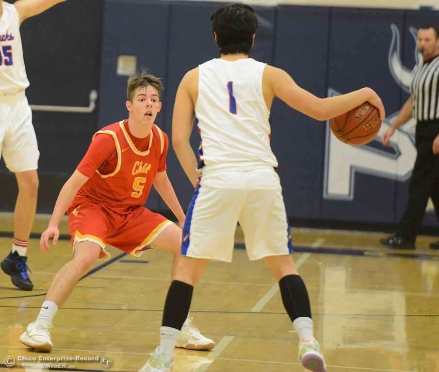 . Chico Chico\'s Daniel Kelly plays defense against Tamalpais\' Timothy Kim on the  first night of the annual McDonald\'s Winter Classic Thursday December 7, 2017 at Pleasant Valley High School in Chico, California. (Emily Bertolino -- Enterprise-Record)