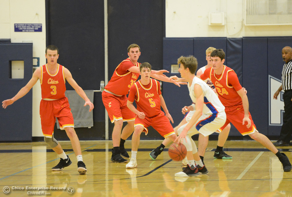 . Chico High\'s defense stacks up against Tamalpais on the first night of the annual McDonald\'s Winter Classic Thursday December 7, 2017 at Pleasant Valley High School in Chico, California. (Emily Bertolino -- Enterprise-Record)