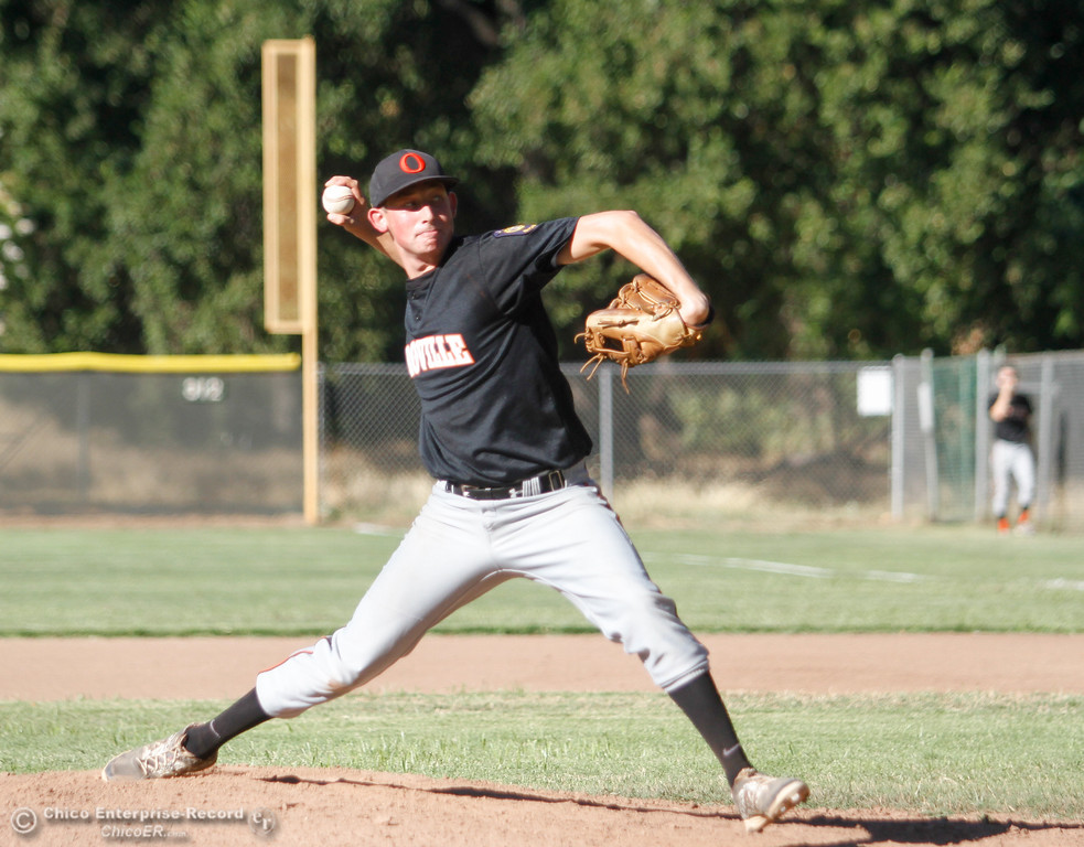 . Oroville Post 95\'s Ethan Potes pitches against the Chico Nuts Wednesday July 12, 2017 at Ron Doryland Field in Chico, California.  (Emily Bertolino -- Enterprise-Record)