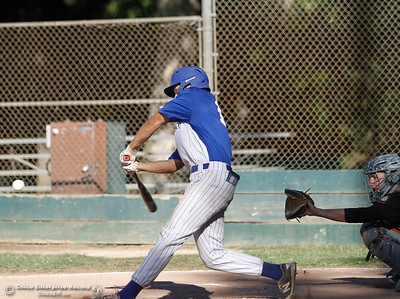 Chico Nuts' Trenton York swings for a home run against the Oroville Post 95 Wednesday July 12, 2017 at Ron Doryland Field in Chico, California.  (Emily Bertolino -- Enterprise-Record)