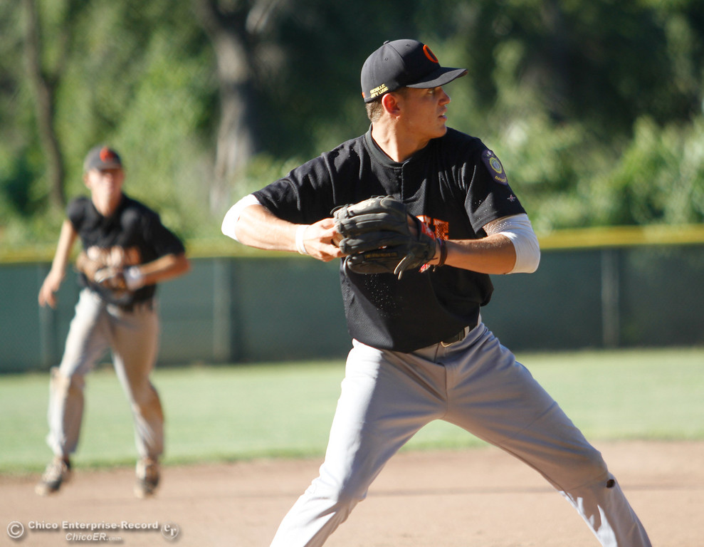 . Oroville Post 95\'s third baseman Donnovon Saona looks to first after he grounds the ball during a baseball game against the Chico Nuts Wednesday July 12, 2017 at Ron Doryland Field in Chico, California.  (Emily Bertolino -- Enterprise-Record)
