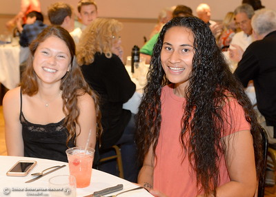 Olivia Layne and Sirena Tuitele left to right smile during the 46th annual Chico Sports Hall of Fame and Senior Athletes Banquet at the Chico Elks Lodge #423 in Chico, Calif. Tuesday May 8, 2018. (Bill Husa -- Enterprise-Record)