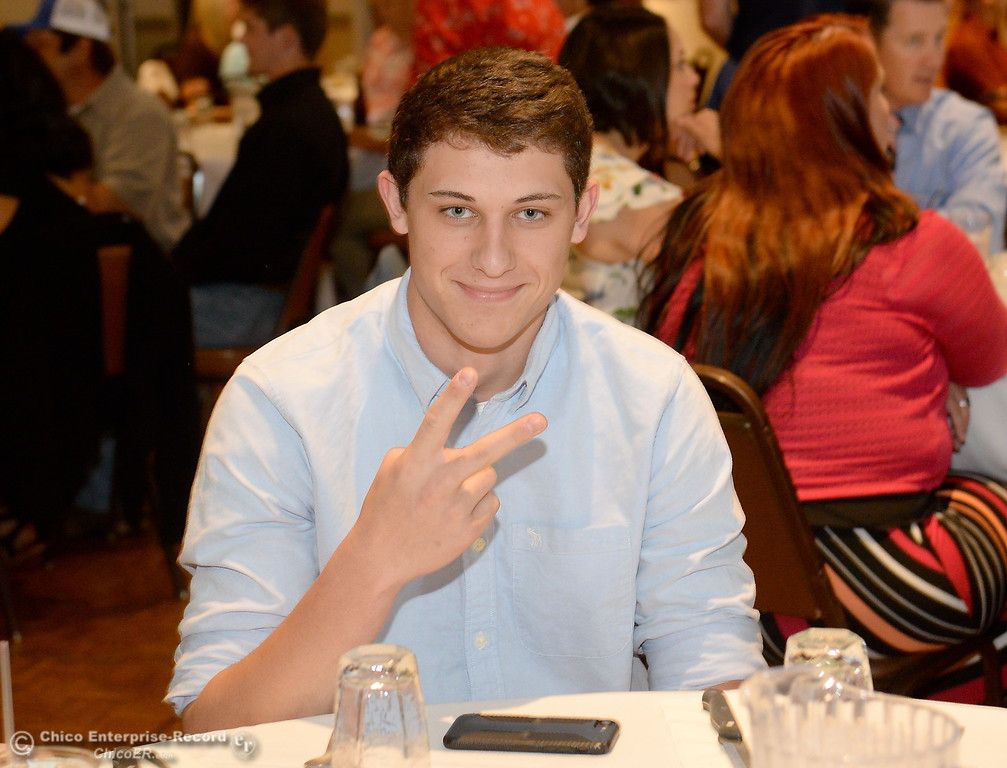 . Chico Sportsperson of the Year Kevin Kremer smiles during the 46th annual Chico Sports Hall of Fame and Senior Athletes Banquet at the Chico Elks Lodge  in Chico, Calif. Tuesday May 8, 2018. (Bill Husa -- Enterprise-Record)