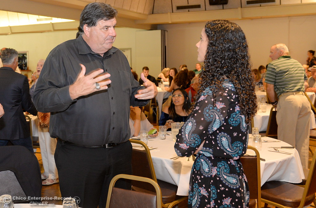 . during the 46th annual Chico Sports Hall of Fame and Senior Athletes Banquest at the Chico Elks Lodge #423 in Chico, Calif. Tuesday May 8, 2018. (Bill Husa -- Enterprise-Record)
