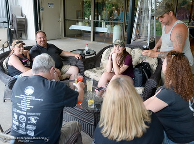 A group of Elks Lodge locals who said they didn't mind sharing the facility tonight enjoy a cocktail on the patio during the 46th annual Chico Sports Hall of Fame and Senior Athletes Banquet at the Chico Elks Lodge  in Chico, Calif. Tuesday May 8, 2018. (Bill Husa -- Enterprise-Record)