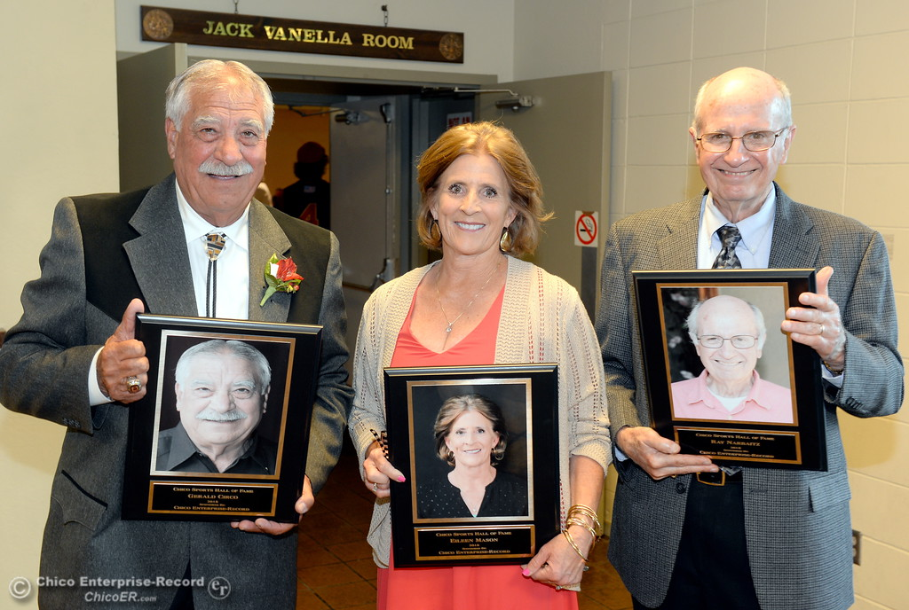 . Hall of Fame Inductees Gerald Circo, Eileen Mason and Ray Narbaitz left to right smile during the 46th annual Chico Sports Hall of Fame and Senior Athletes Banquet at the Chico Elks Lodge  in Chico, Calif. Tuesday May 8, 2018. (Bill Husa -- Enterprise-Record)