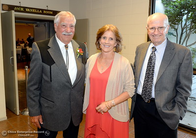 Hall of Fame Inductees Gerald Circo, Eileen Mason and Ray Narbaitz left to right smile during the 46th annual Chico Sports Hall of Fame and Senior Athletes Banquet at the Chico Elks Lodge  in Chico, Calif. Tuesday May 8, 2018. (Bill Husa -- Enterprise-Record)