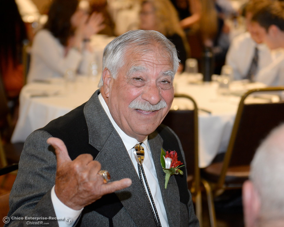 . Hall of Fame Inductee Gerald Circo smiles during the 46th annual Chico Sports Hall of Fame and Senior Athletes Banquet at the Chico Elks Lodge #423 in Chico, Calif. Tuesday May 8, 2018. (Bill Husa -- Enterprise-Record)