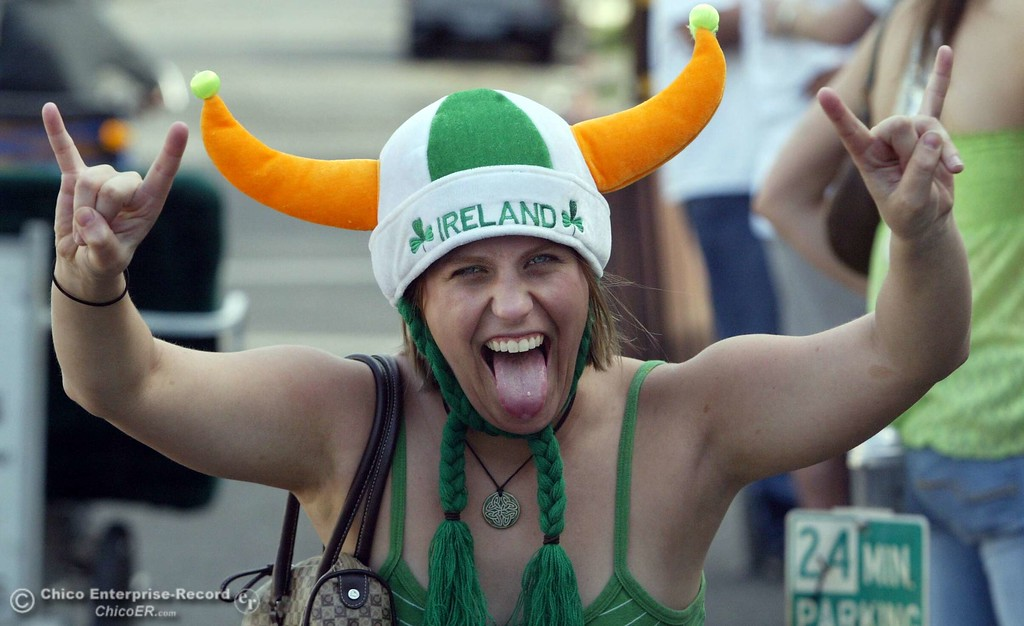 . Saint Patricks Day- . ty news 03/17/05. This is Megan Kulluk a 21 year old CSUC econimic student in the spirit of the day as she walks down Ivy street near 5th.