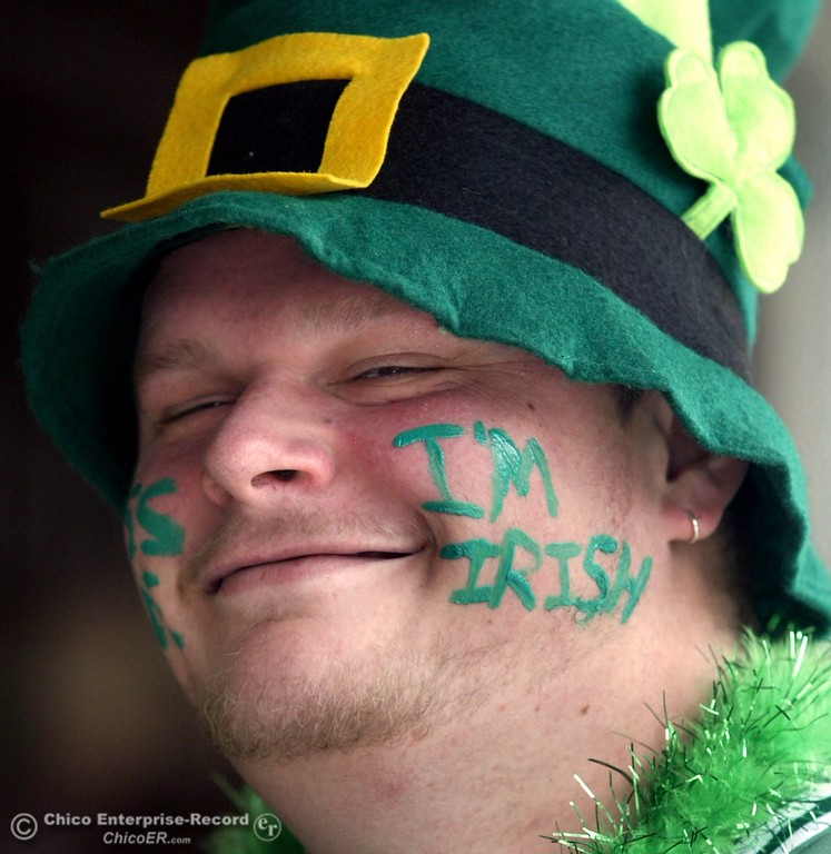 . Joe Drake of Paradise gets his St. Patricks Day started on Main St. near the Town Lounge Friday morning.