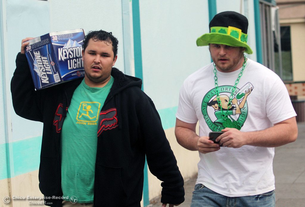 . People celebrate St. Patrick\'s Day festivities along Ivy St. in the south CSUC campus area and Downtown Chico Thursday , March 17, 2011 in Chico, Calif.