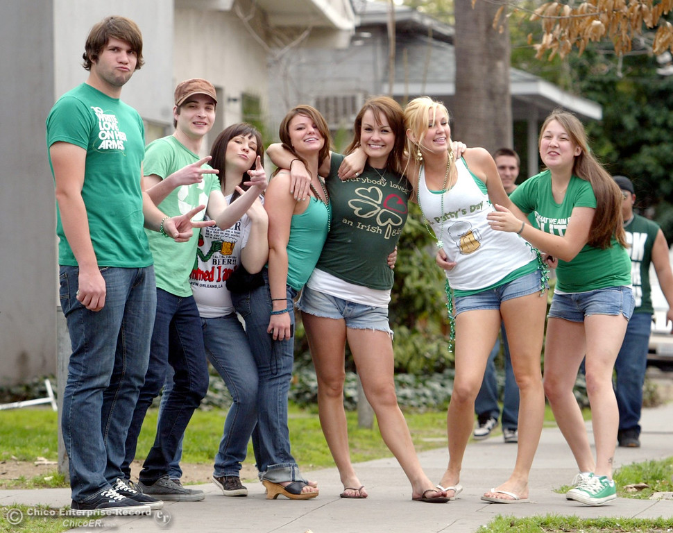 . Chicoans take to the streets of Downtown Chico near 3rd St and Ivy St. for St. Patrick\'s Day celebrations Tuesday, March 17, 2009 in Chico, CA. 