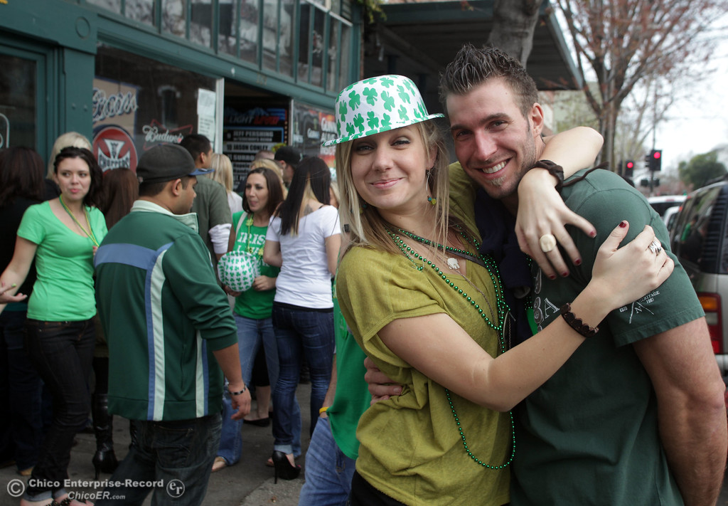 . People celebrate St. Patrick\'s Day festivities in front of LaSalles in the south CSUC campus area and Downtown Chico Thursday , March 17, 2011 in Chico, Calif.
