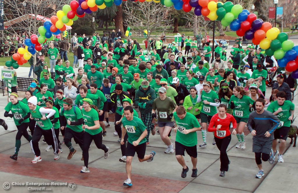 . People took part a run and pancake feed in the 11th Annual Shamrock Shuffle for St. Patrick\'s Day festivities on the Chico State campus Saturday, March 17, 2012 in Chico, Calif. 