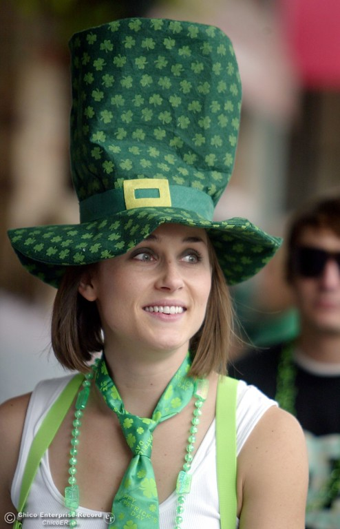 . Melissa Jean is dressed in green attire as she takes to the streets of Downtown Chico for St. Patrick\'s Day celebrations Tuesday, March 17, 2009 in Chico, CA. 