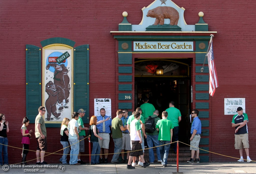 . Partiers line up at the Madison Bear Garden at W. 2nd St. and Salem St. as St. Patrick Day celebrations spill into the streets as partiers, CSUC/Butte students and non-students, enjoy the week off on Wednesday, March 17, 2010 in Downtown Chico, Calif. 