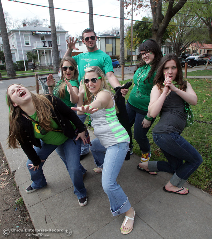 . People celebrate St. Patrick\'s Day festivities in the south CSUC campus area and Downtown Chico Thursday , March 17, 2011 in Chico, Calif.